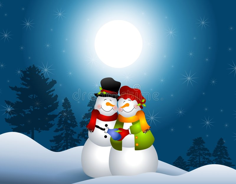 Download Snowmen Hugging In Snow Royalty Free Stock Photos - Image: 6928058