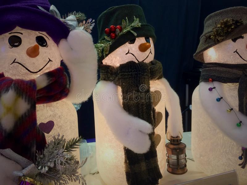 Snowmen lights royalty free stock photos