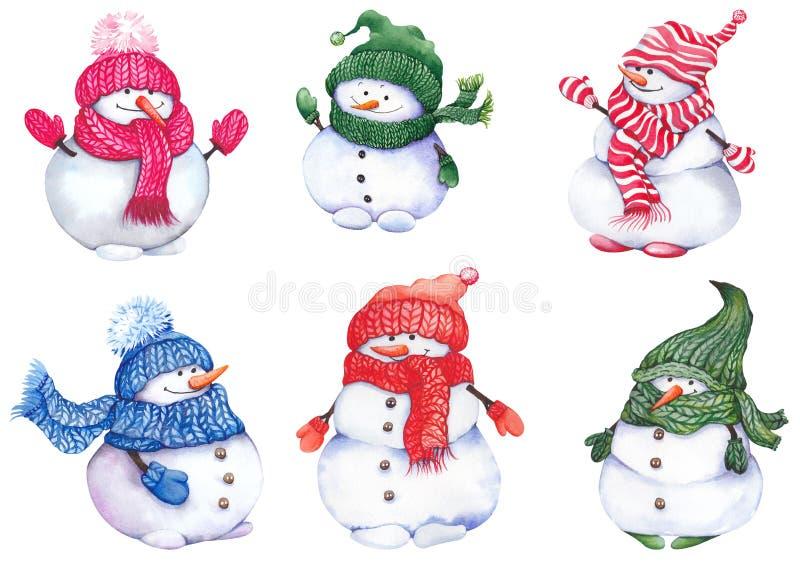 Snowmen, met breiwerk, sjerpen en wanten vector illustratie