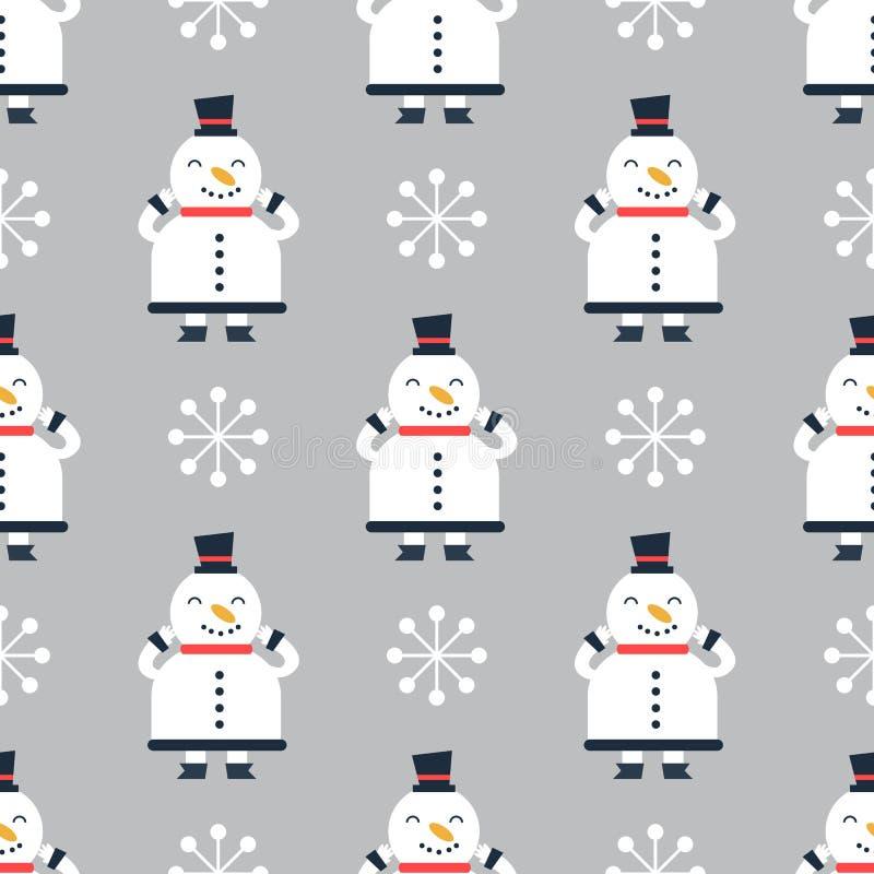 Snowmen naadloze achtergrond stock illustratie