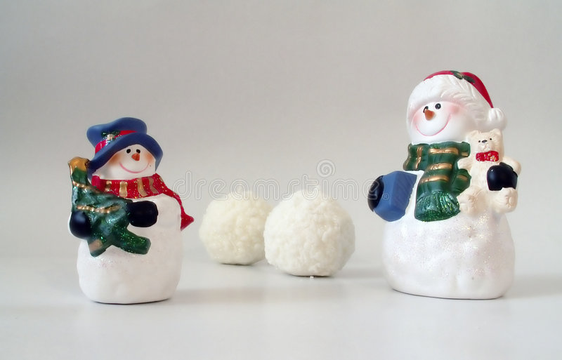 Download Snowmen And Snowballs On White, Christmas Card Stock Image - Image: 146151