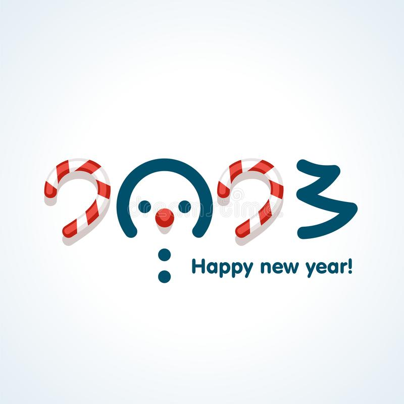 Snowmen in text design pattern happy new 2023 year vector illustration