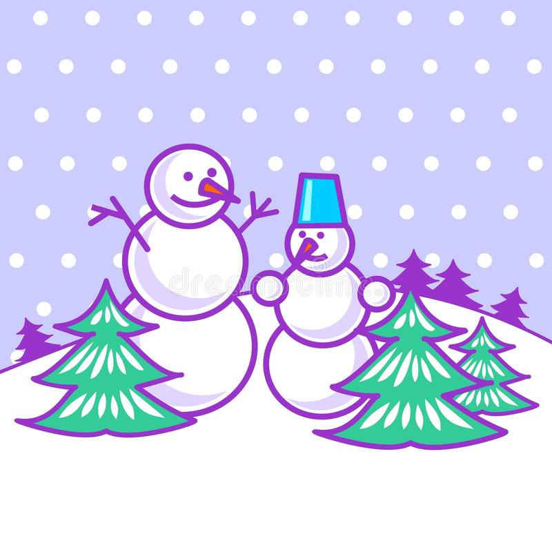 Download Snowmen between trees stock vector. Image of spruce, white - 27455812