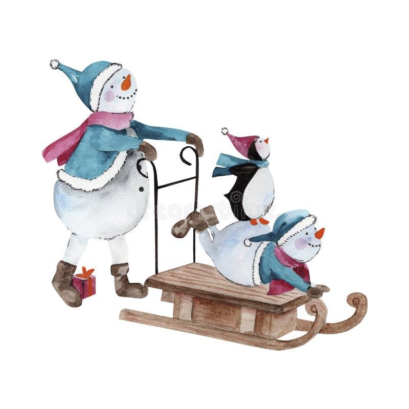 Snowmens e pinguim da aquarela foto de stock royalty free