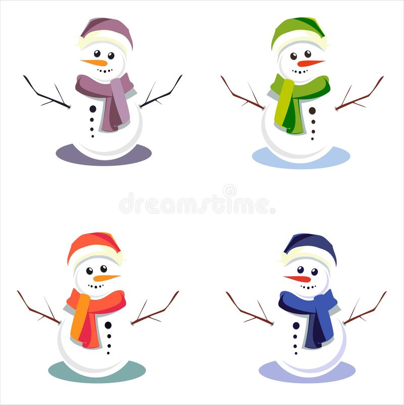 Snowmens mignons sur le fond d'isolement illustration de vecteur