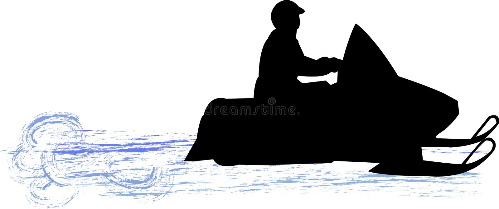 Snowmobile. Illustration of a a person riding a snowmobile vector illustration