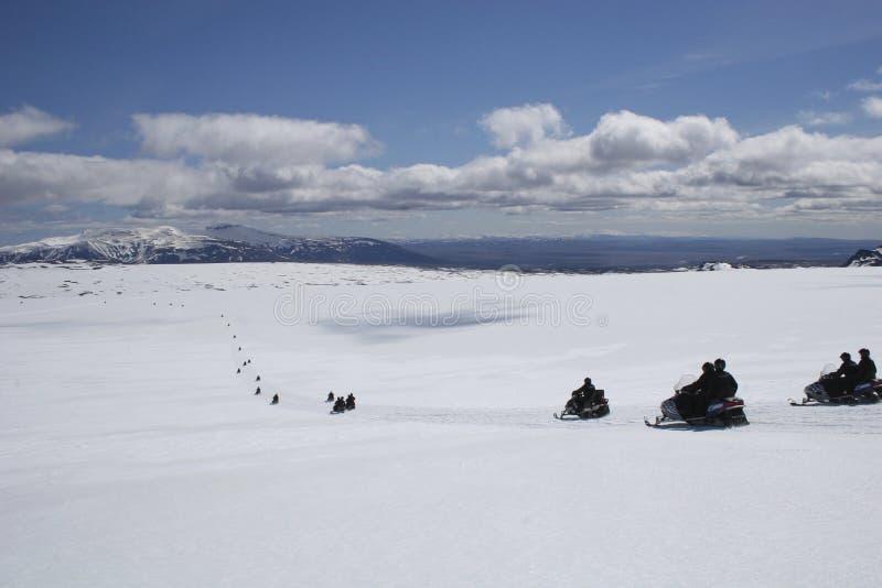 Snowmobile in glacier stock image