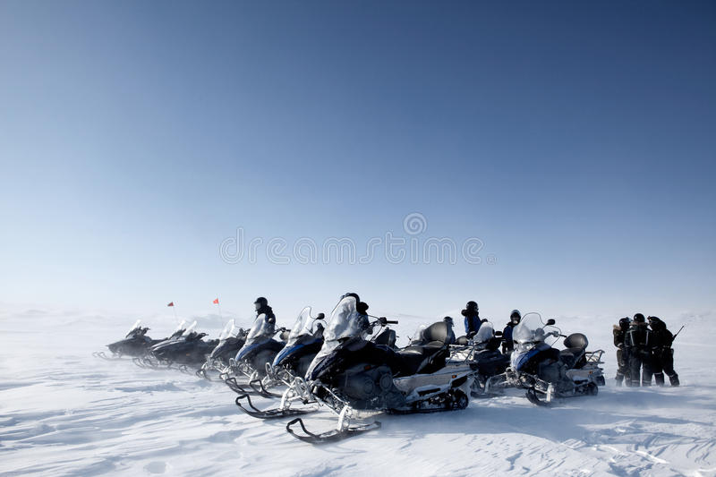 Download Snowmobile Group stock photo. Image of remote, expedition - 9638448