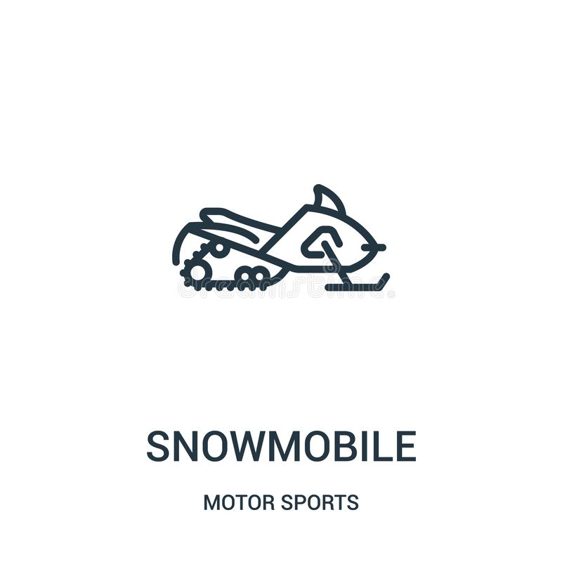 snowmobile ikony wektor od motorowych sportów inkasowych Cienka kreskowa snowmobile konturu ikony wektoru ilustracja Liniowy symb ilustracji