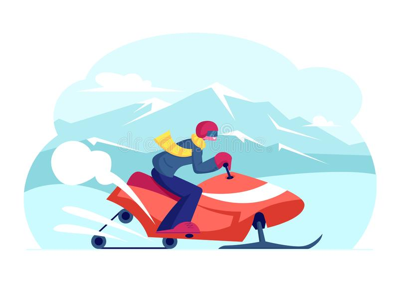 Snowmobile Rider Wearing Helmet Riding Fast by Snowdrifts with Fun During Extreme Sport Adventure Tour. Outdoor Activity During Winter Holiday on Ski Mountain stock illustration