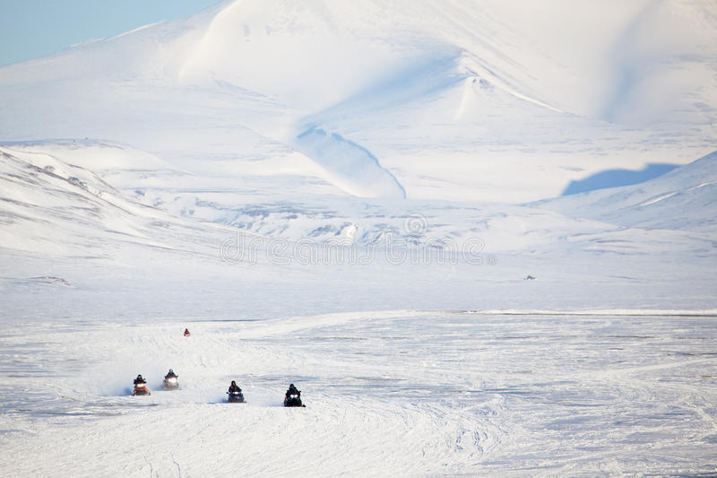 Snowmobile in Svalbard royalty free stock photo