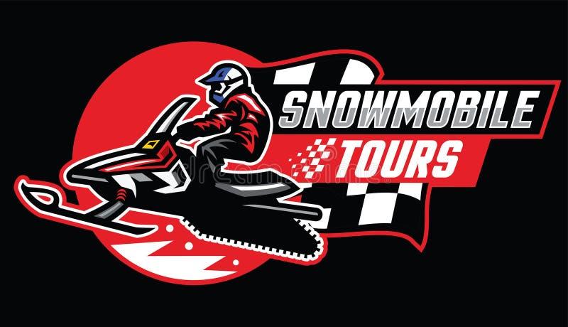 Snowmobile tour badge design stock illustration