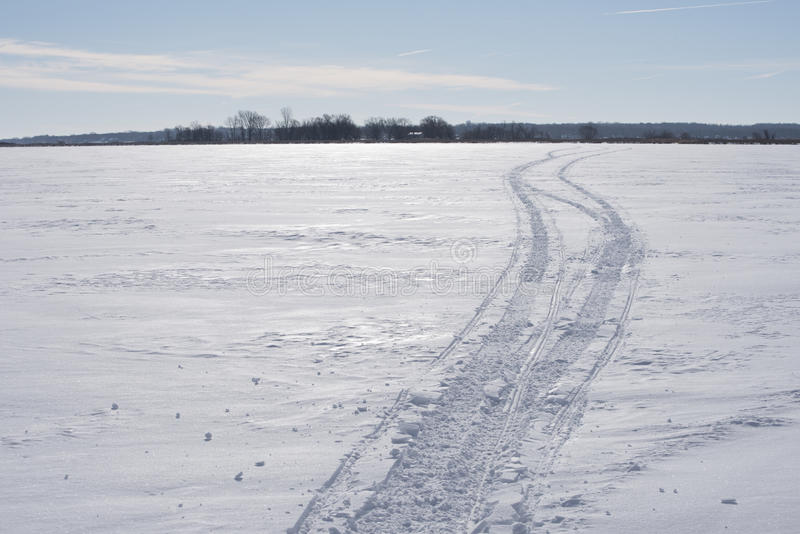 Snowmobile Track Lanscape royalty free stock photos