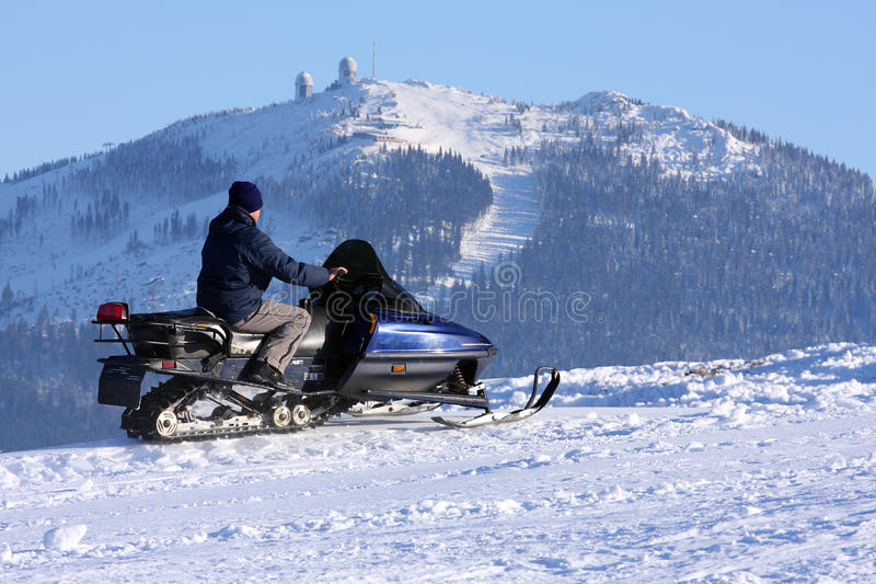 snowmobilekvinna royaltyfria bilder