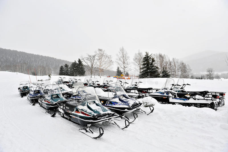 Snowmobiles stock photography