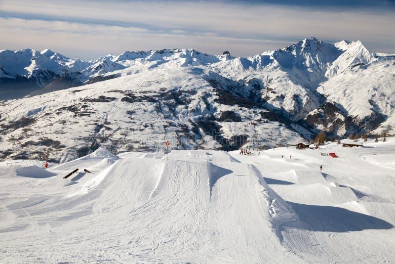 Snowpark in Les Arcs stock foto