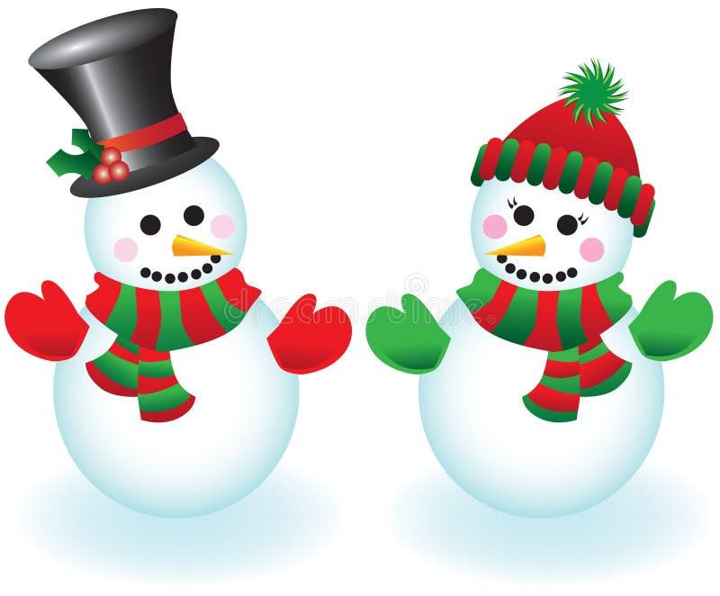 snowpeoplevektor royaltyfri illustrationer