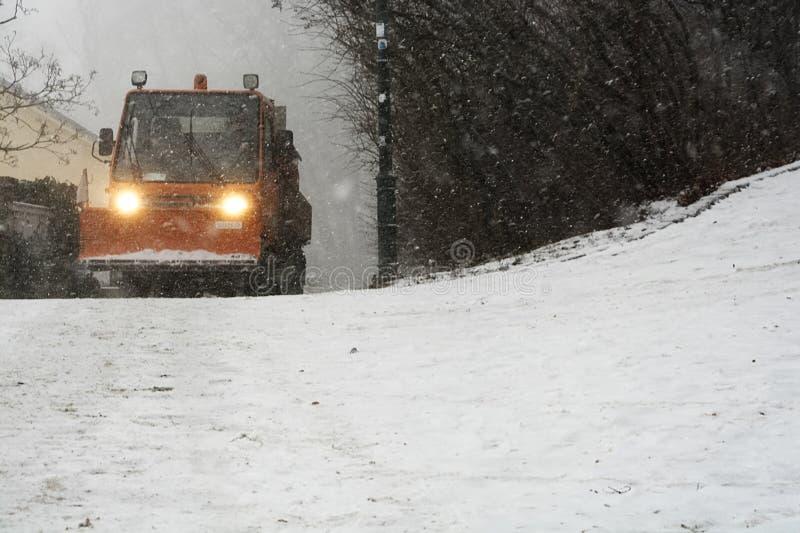 Snowplow dla ciężkiego opadu śniegu obraz stock