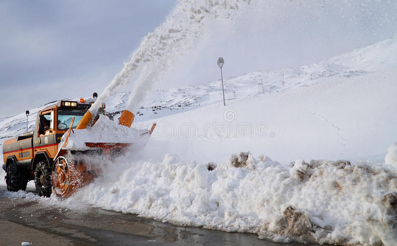 Snowplow from Etna royalty free stock photos