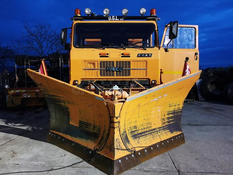 Snowplow in maintenance. Fortore, Benevento, Campania, Italy - 11 January 2018: Snowplow in maintenance at a mechanical workshop in anticipation of imminent royalty free stock photography
