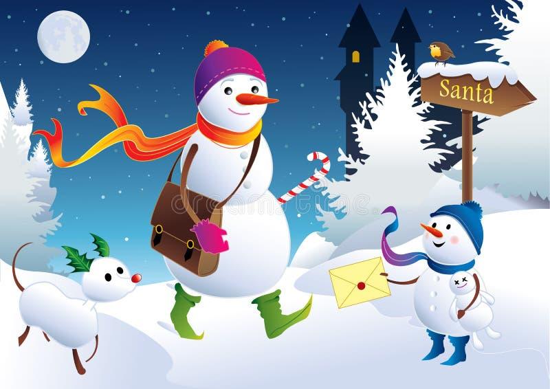 Snowpostman - Brief aan de Kerstman royalty-vrije illustratie