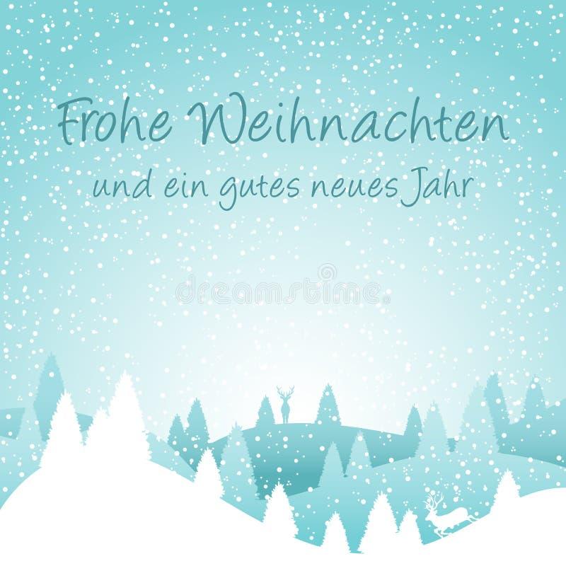 Snowscape с Рождеством Христовым и счастливая карточка Нового Года с вектором предпосылки бесплатная иллюстрация