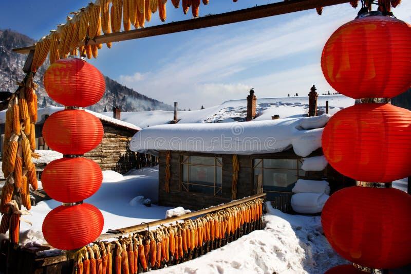 Snowscape característico da casa da quinta fotos de stock