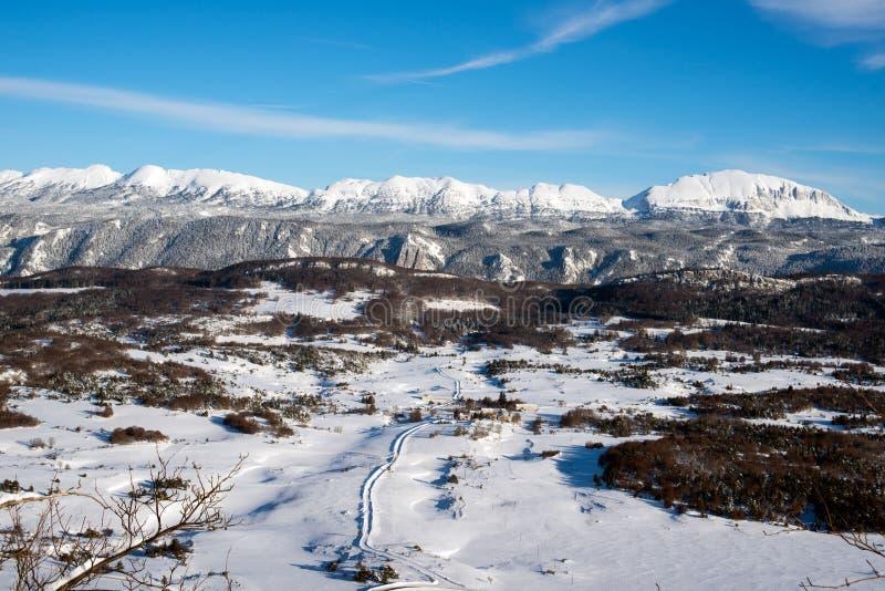 Snowscape nästan Grenoble france royaltyfri fotografi