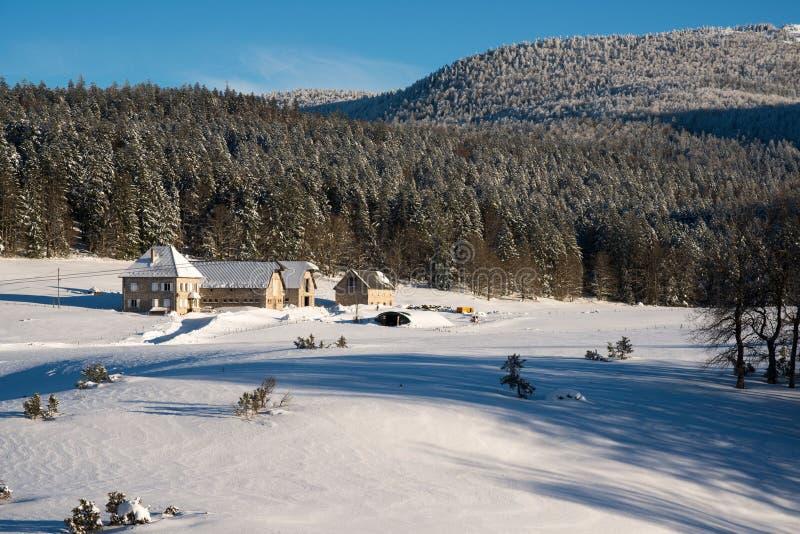 Snowscape nästan Grenoble france arkivbilder