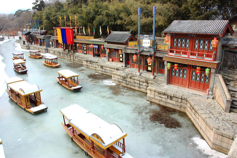 The snowscape of Summer Palace stock image