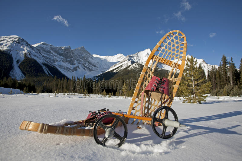 Snowshoe gear in the snow