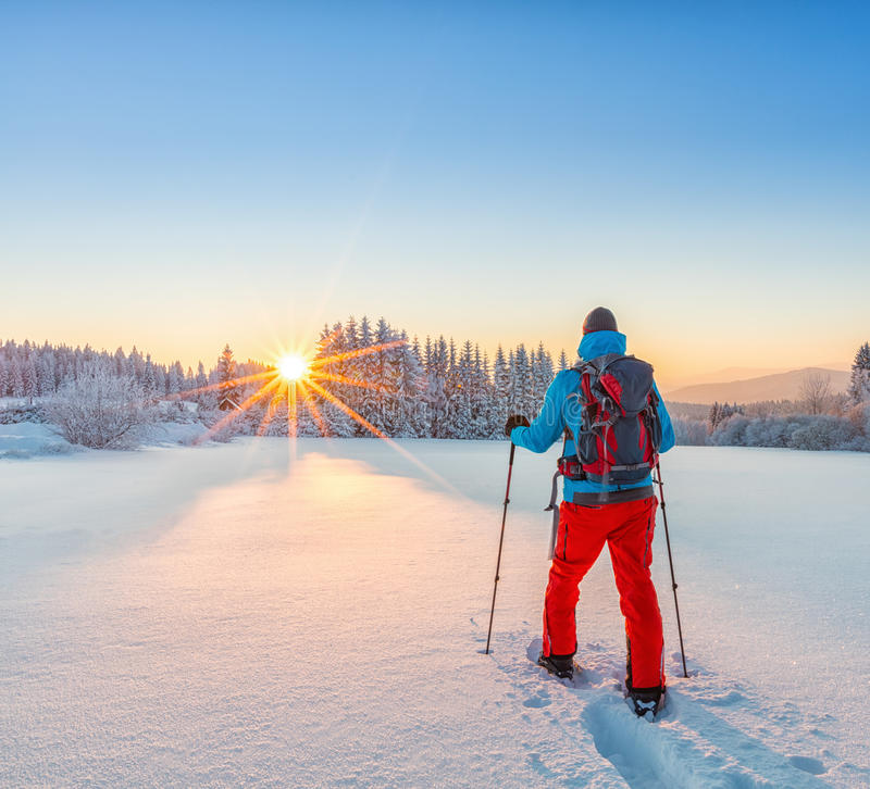 Snowshoe piechura bieg w prochowym śniegu obrazy royalty free