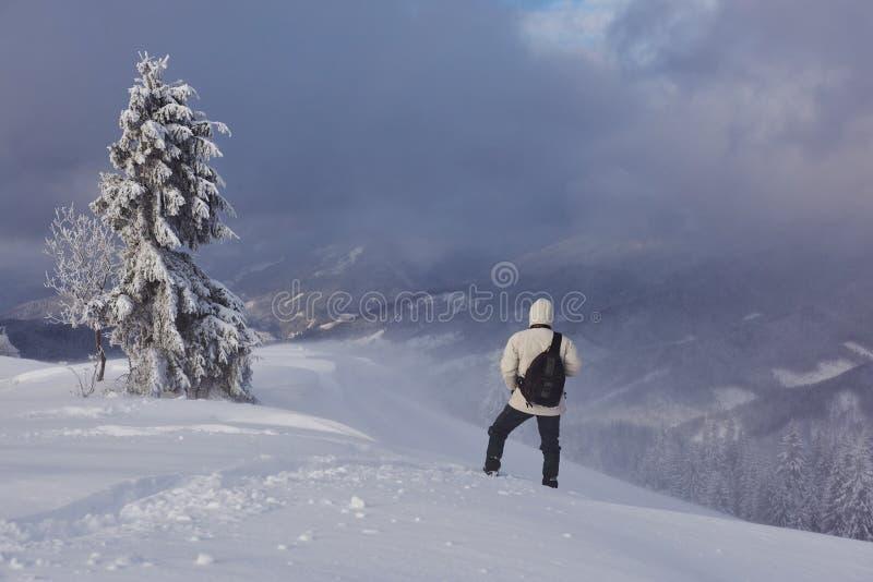 Snowshoe piechura bieg w prochowym śniegu z pięknym wschodu słońca światłem Plenerowa zimy aktywność i zdrowy styl życia zdjęcia royalty free