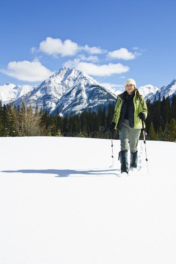 snowshoeing妇女的加拿大罗基斯 免版税库存图片