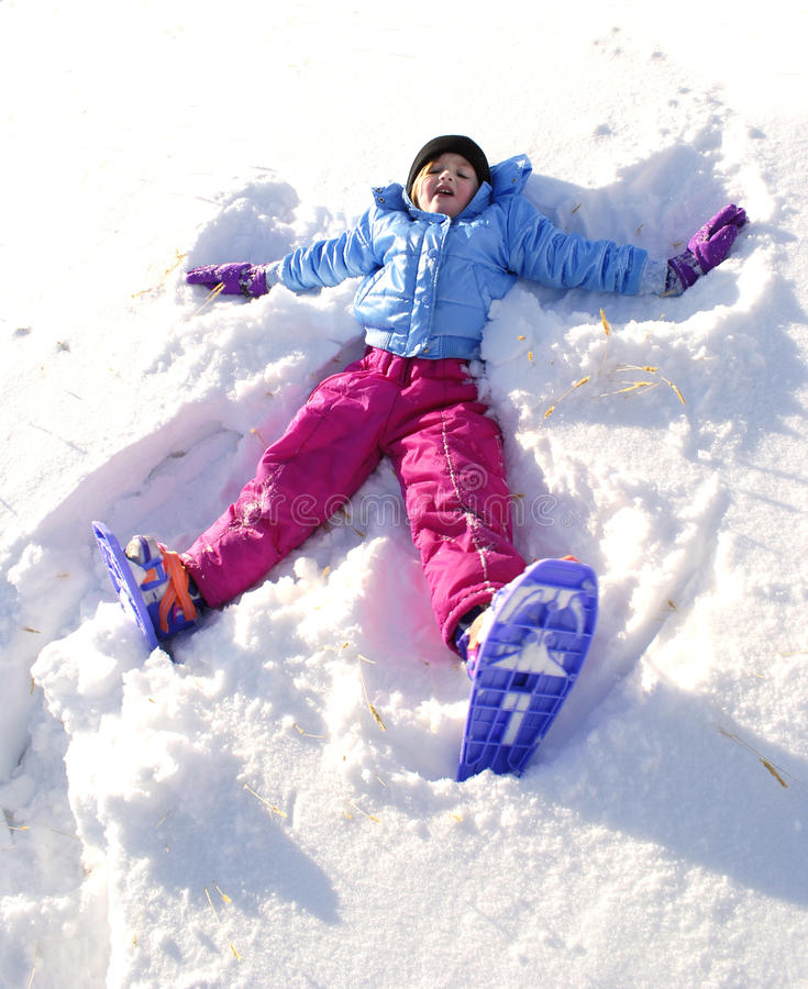 snowshoeing的冬天 免版税库存照片