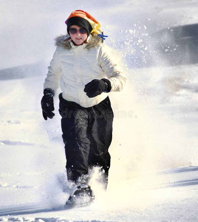 snowshoeing的冬天 库存照片