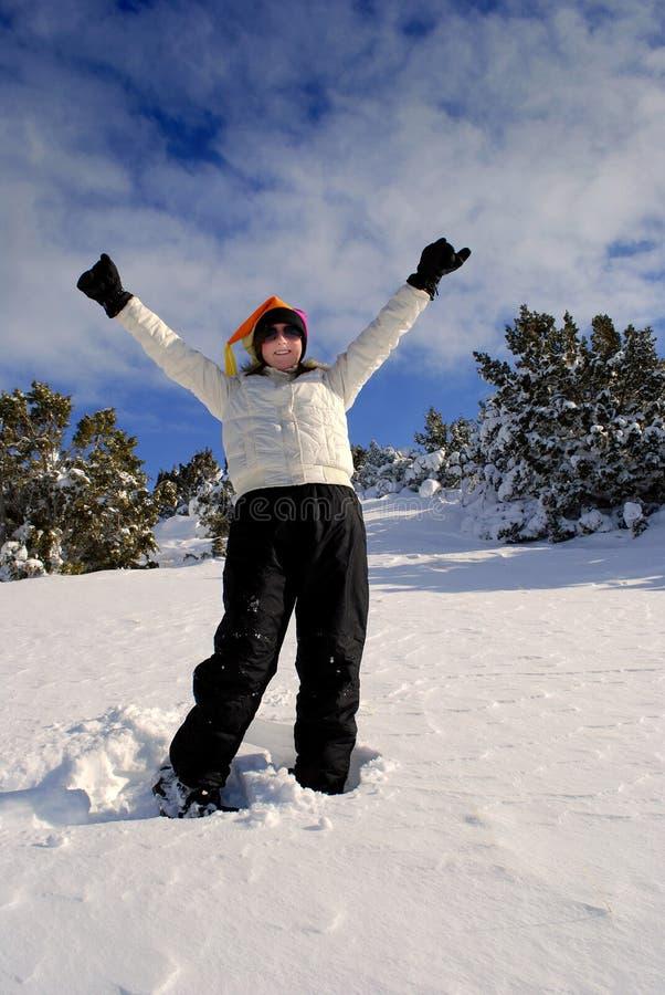 snowshoeing的冬天 库存图片
