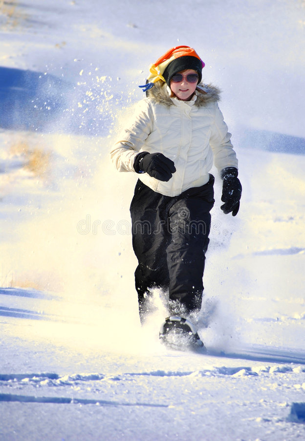 snowshoeing的冬天 免版税图库摄影