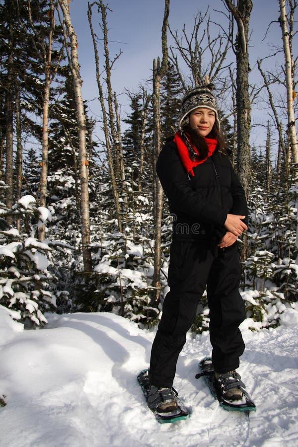 snowshoeing的魁北克 库存照片