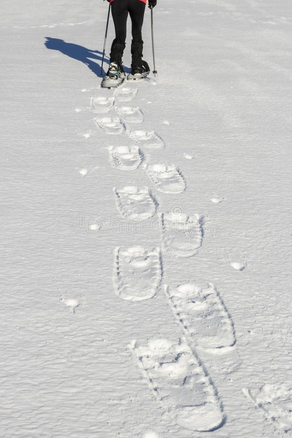 Snowshoeing -迁徙在冬天山的妇女 免版税库存图片