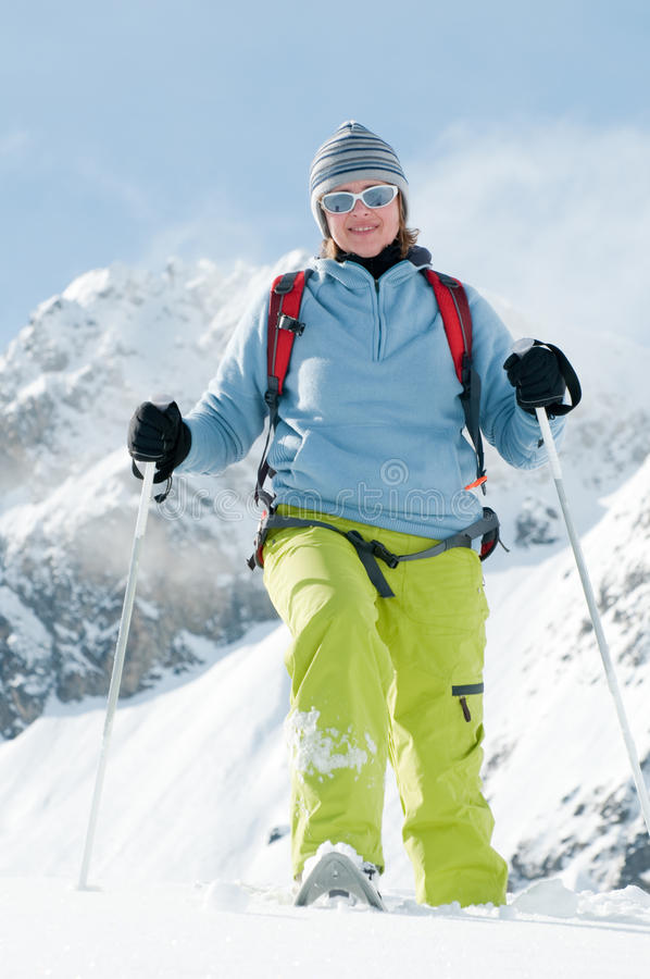Download Snowshoeing stock image. Image of practicing, alps, outdoor - 16720631