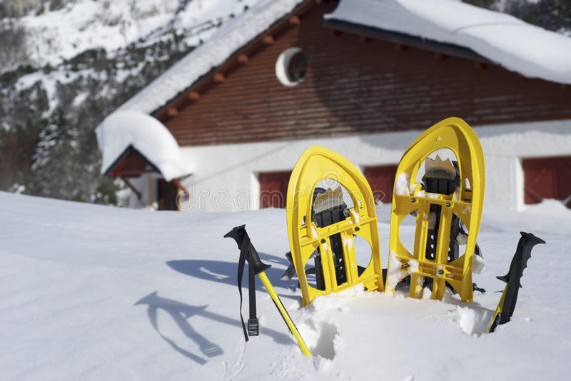 Download Snowshoeing stock photo. Image of chalet, racket, foot - 28967818