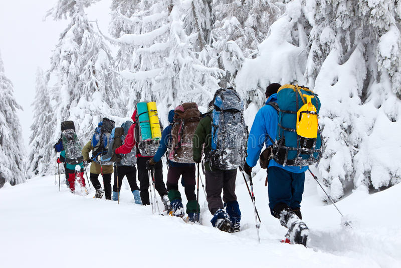 Snowshoeing in inverno fotografie stock
