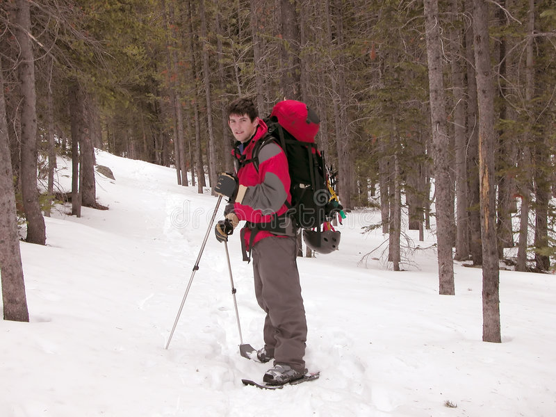 Snowshoeing - le Montana image stock