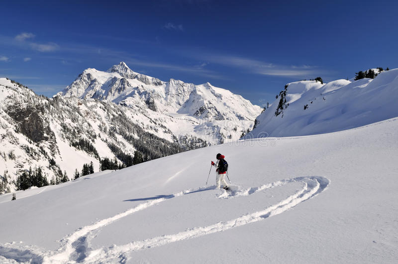 Snowshoeing in Mt Baker royalty free stock photography