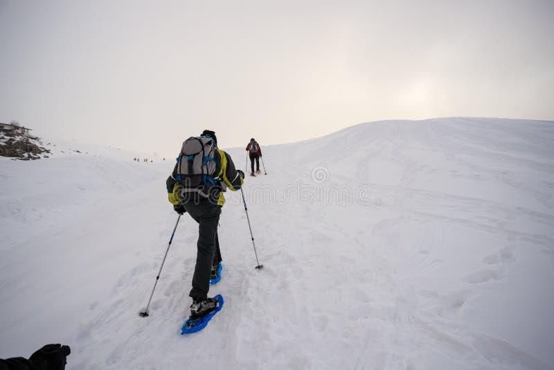 Snowshoeing na neve imagem de stock