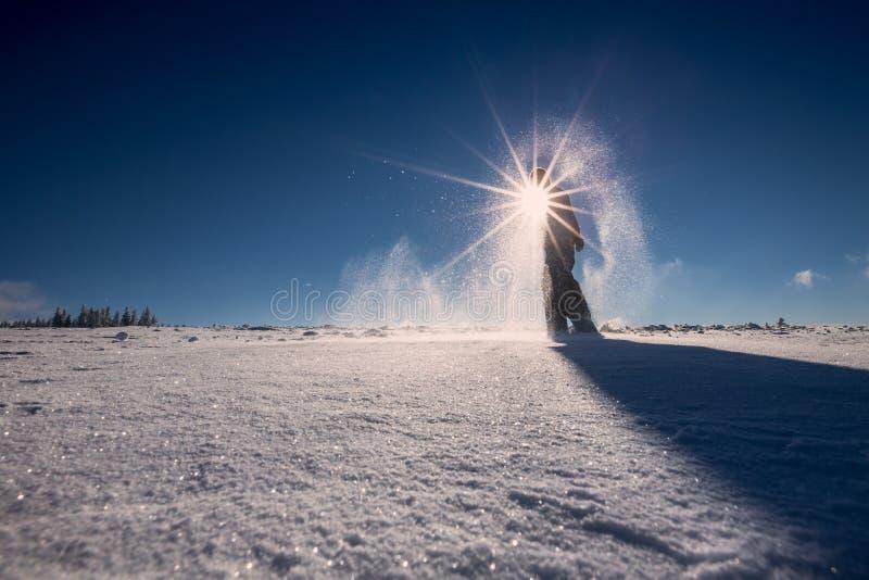 Snowshoeing in neve fresca in foresta nera, Germania immagini stock