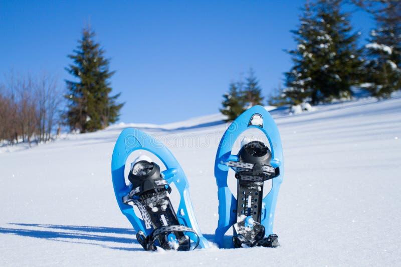 snowshoeing Raquettes dans la neige photo stock