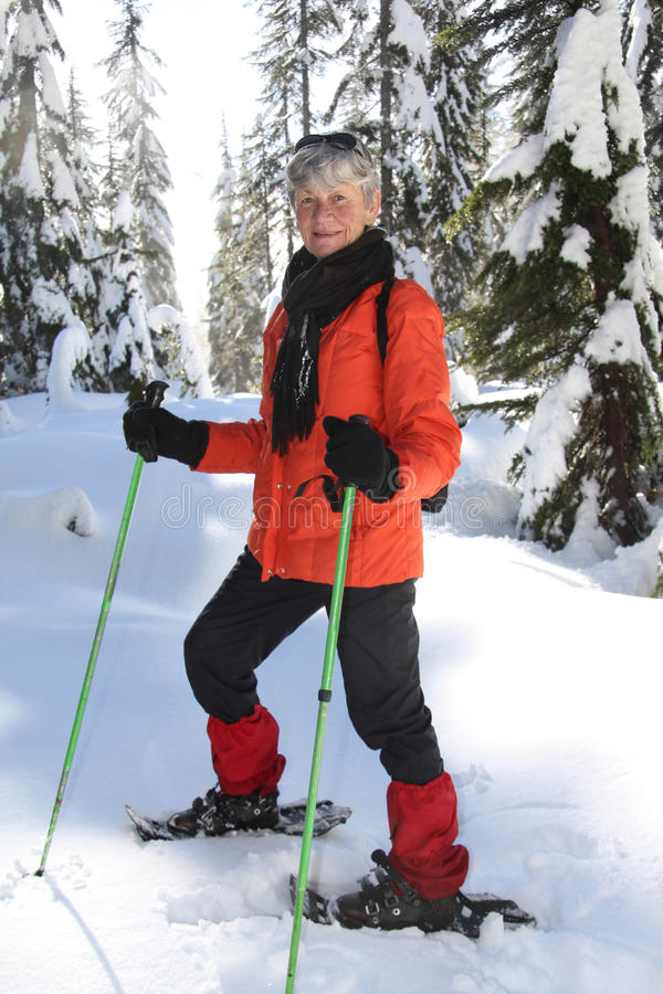 Download Snowshoeing retirement stock photo. Image of exercise - 23192832