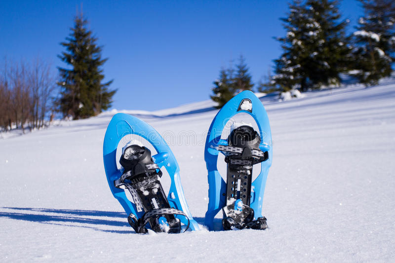 snowshoeing Snowshoes na neve foto de stock royalty free